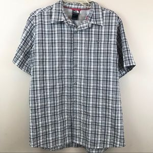 The North Face gray plaid button down